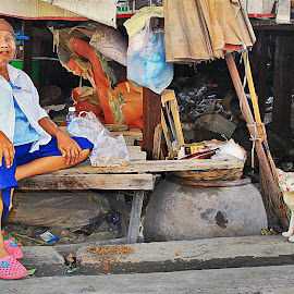 Two's Company Homeless but still has a smile for anybody that pa by James Morris - People Street & Candids ( thailand, homeless, bangkok, street photography )