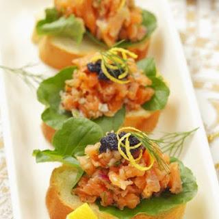 Salmon Tartar and Caviar Tapas.