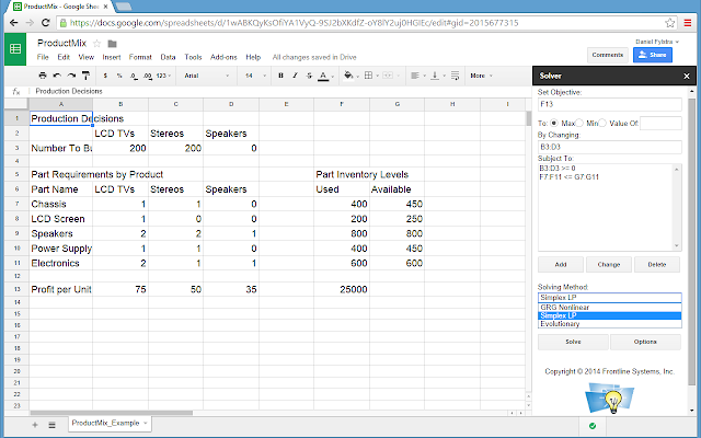 Solver - Google Sheets add-on