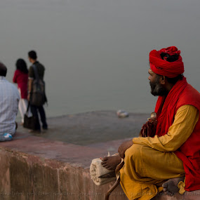 Vision Afar by Prabir Adhikary - People Street & Candids ( sage, red, red & yellow, indian sage, yellow, saint, sage by the ganges,  )