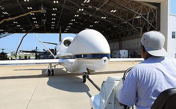 Photo: The Global Hawk getting settled in its hangar at NASA Wallops Flight Facility in Virginia.