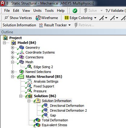 ANSYS Когда вы выберете папку «Solution Information» (информация о решении) раздела «Solution» (решение), на панели инструментов будут представлены доступные для этой папки инструменты