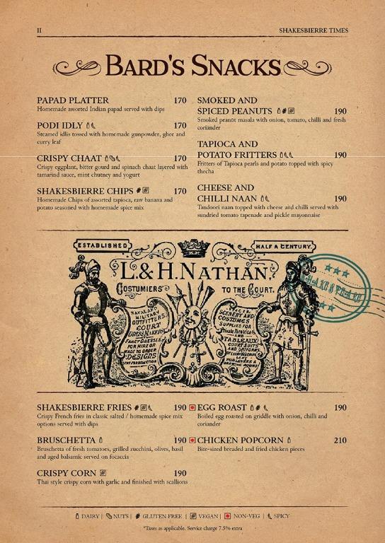 Shakesbierre menu 1