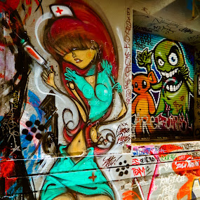 Nurse Betty by Thomas Brunet - City,  Street & Park  Street Scenes ( grafitti, l120, nurse, melbourne, street, street art, nikon, painting, union lane,  )