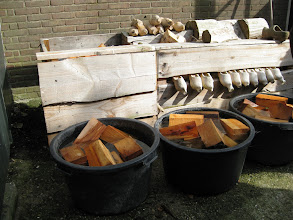Photo: Soaking poplar to make wooden shoes. You can use willow, too. They're the best woods because they can hold a lot of water, which makes them pliable to work with.