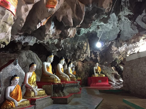 Buddhist statues in a cave in Myanmar.