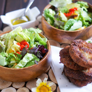 Pea and Potato Fritters with a side of Goji, edible Flowers and mixed Greens