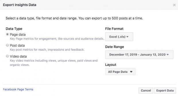 Ảnh chụp màn hình hiển thị quá trình xuất dữ liệu từ phân tích của Facebook