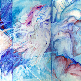 by Mitsuko Takasugi - Painting All Painting ( abstract, hand painted, coral, blue )