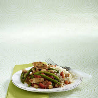 Pan-Fried Turkey with White and Green Beans and Brown Rice.
