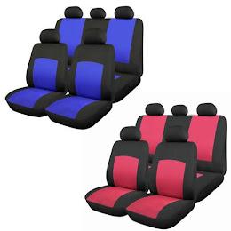 Huse scaune auto Oxford 9 bucati: albastru / rosu
