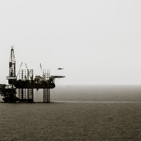 The Arrival. by Michael Tan - Buildings & Architecture Other Exteriors ( canon, helicopter, blackandwhite, oilrig, sigma, f1.4, sea, 50mm, 500d )