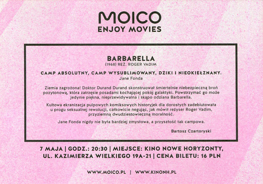 Tył ulotki filmu 'Barbarella'