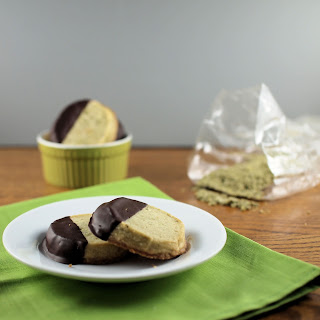 Chocolate-Dipped Matcha Shortbread