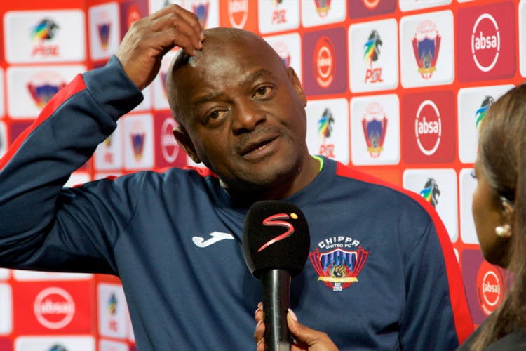 Chippa United head coach Dan Malesela during his post-match TV interview after a Absa Premiership match against Orlando Pirates at Nelson Mandela Bay Stadium on August 08, 2018 in Port Elizabeth, South Africa.