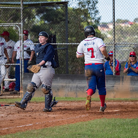 Celebration at Home by Jim Merchant - Sports & Fitness Baseball ( baseball, male, home plate, sport, celebration, runner )