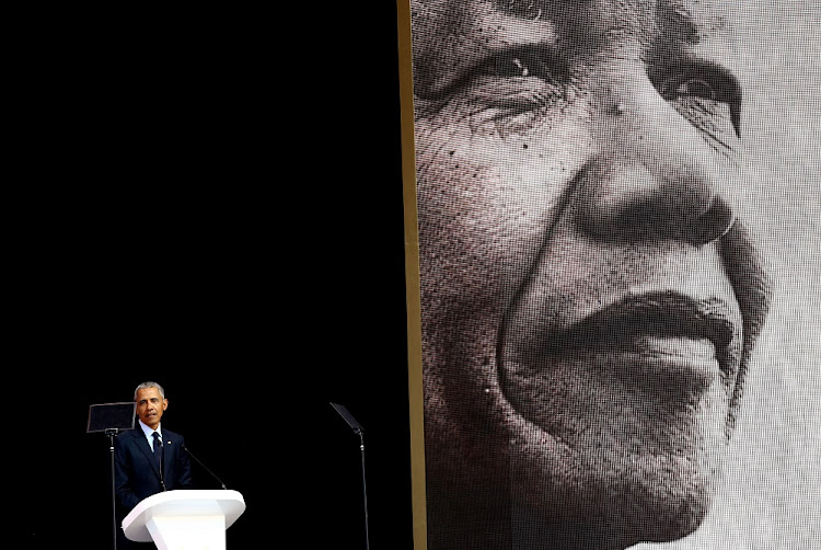 Former US President Barack Obama delivers the 6th Nelson Mandela Annual Lecture at Wanderers Stadium in Johannesburg on July 17 2018. Picture: MASI LOSI