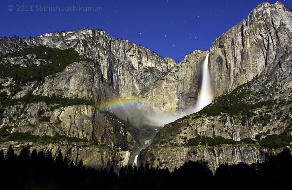 Photo: Moonbow at Yosemite Falls, Yosemite National Park