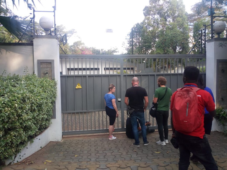 Journalists outside the home of Dutch Tycoon Tob Cohen on Friday, September 13, 2019.