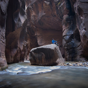 Floating Rock by Ruben Parra - Landscapes Caves & Formations ( the narrows, national park, utah, canyon, rocks, zion, river,  )
