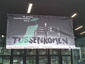 """Photo: In Belgium, Hollaback! Gent put up one of the banners they made about street harassment. This one focuses on bystanders and reads, """"If mean words stream, you can come in between."""""""