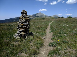 Photo: Cairn marking the trail to Pecos Baldy Lake