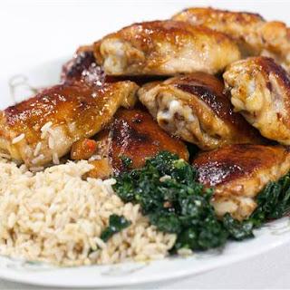 Honey-Hoisin Chicken Thighs with Stir-Fried Kale.