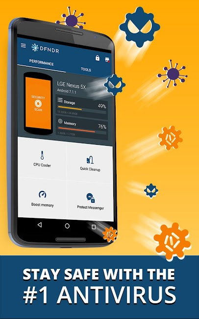 #1. DFNDR: Antivirus & Cleaner (Android)