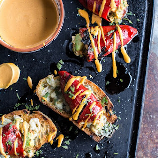 Cheesy Avocado Crab Stuffed Piquillo Pepper Ciabatta Pizzette'S with Sriracha Aioli. Recipe