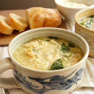 Chicken and Parmigiana Soup with Spinach and Orzo