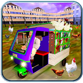 Chicken Transporter Tuk Tuk  Rickshaw Driving