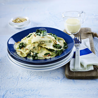 Salmon and Spinach Ravioli.
