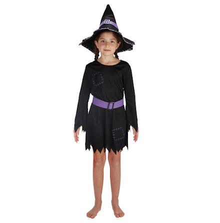 Barndräkt, häxa med lila skärp och hatt 110/116 cl