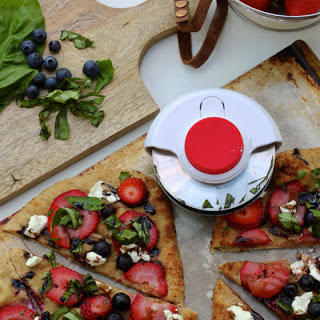 Berry, Basil and Goat Cheese Flatbread with Balsamic Glaze