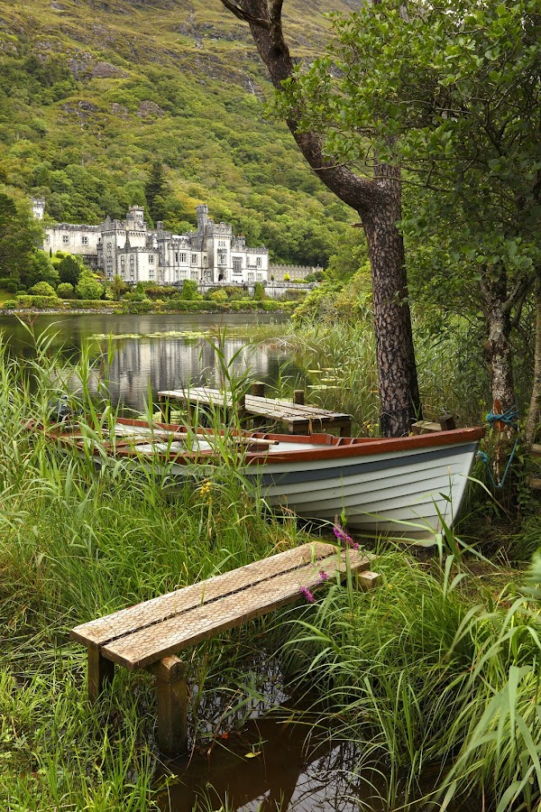 Kylemore Abbey by Richie Hatch - Landscapes Mountains & Hills ( water, reflection, mountain, ireland, green, galway, mayo, castle, boat )
