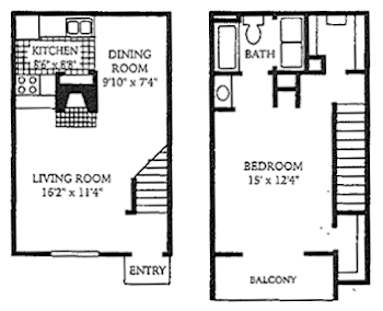 Go to One Bed, One Bath A4 Floorplan page.