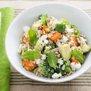 Hearty Sweet Potato, Broccoli & Quinoa Salad with Tahini-Lemon Dressing & Goat Cheese.