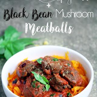 Butternut Squash Spaghetti with Black Bean 'Meatballs'.