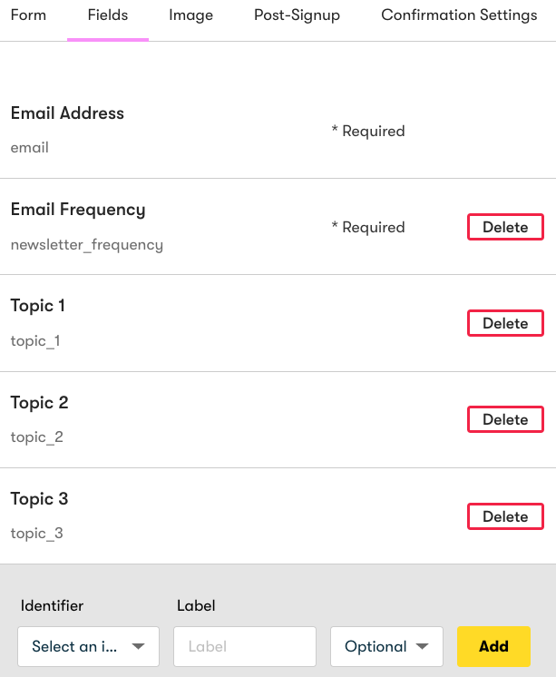 Embedded form fields for your subscription management form