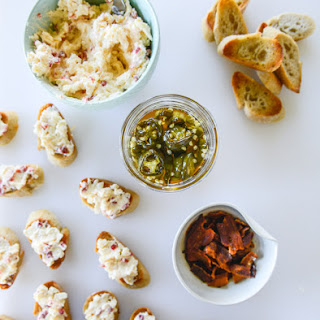 Bacon Ciabatta Crostini with Pimento Cheese and Candied Jalapeños.