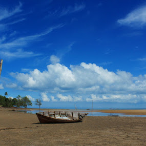 Boat In The Blue by Iwenk Apriwan - Transportation Boats
