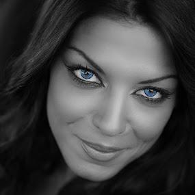 Blue by Zisimos Zizos - People Portraits of Women ( face, splashing, splash, black and white, woman, splash photography, beautiful, beauty, smile, eyes )