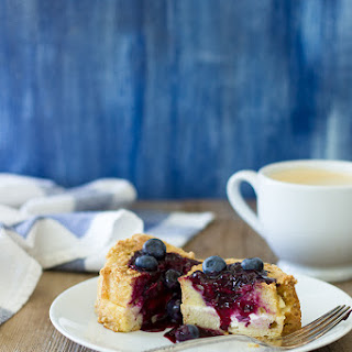 Cream Cheese-Stuffed Baked French Toast & Blueberry Compote