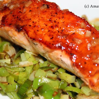 Pan-Seared Salmon With Orange-Miso Reduction