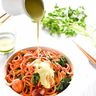 Sweet Potato Noodles with Sriracha Cilantro Cashew 'Cream' Sauce