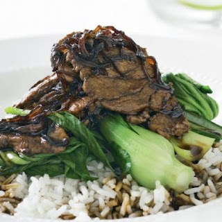 Caramel Pork With Steamed Bok Choy.