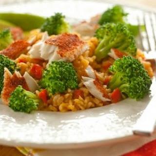 Cajun Tilapia with Broccoli and Brown Rice.