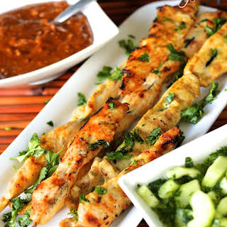 Chicken Satay with Peanut Dipping Sauce and Cool Cucumber Salad.