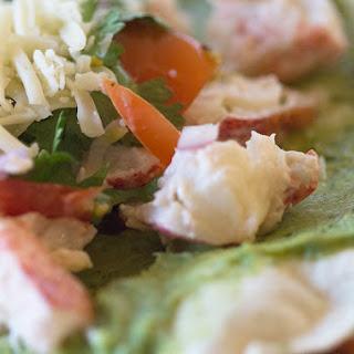 Lobster Tacos with Avocado Baja Sauce.