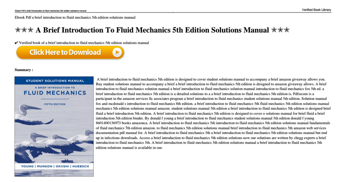 A brief introduction to fluid mechanics 5th edition solutions manual a brief introduction to fluid mechanics 5th edition solutions manualpdf google drive fandeluxe